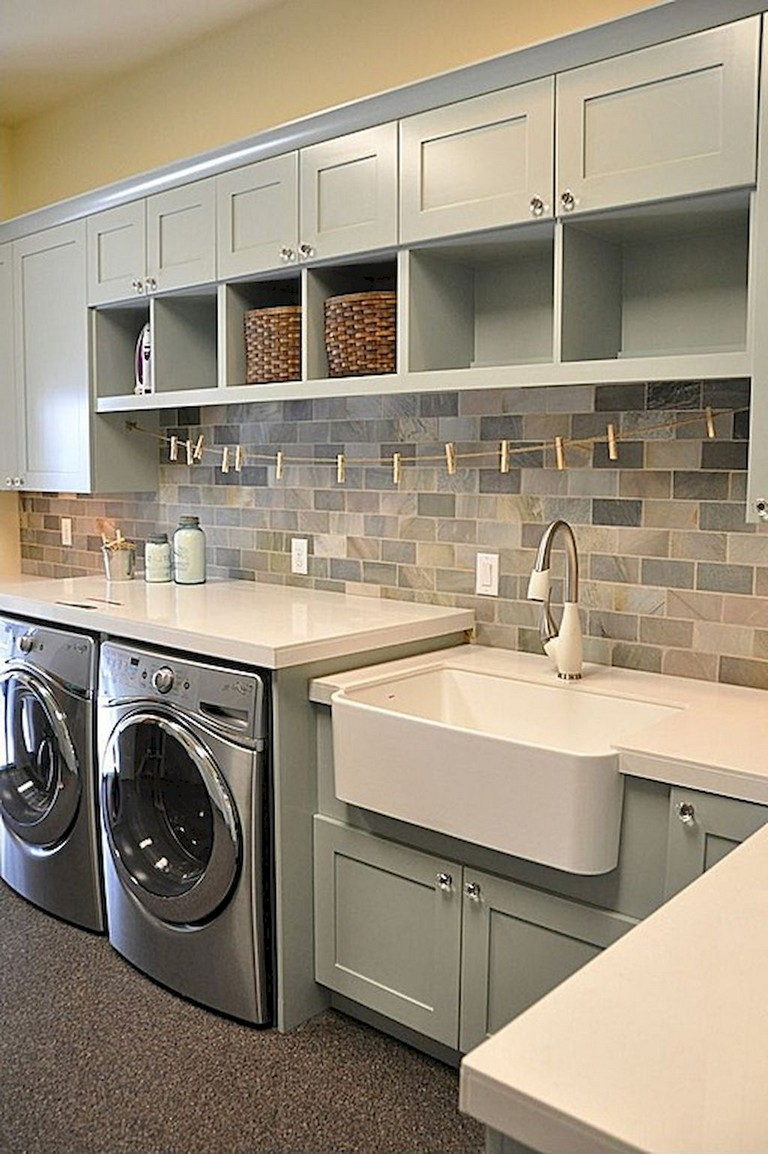 52 Cool Farmhouse Rustic Laundry Room Decor Ideas